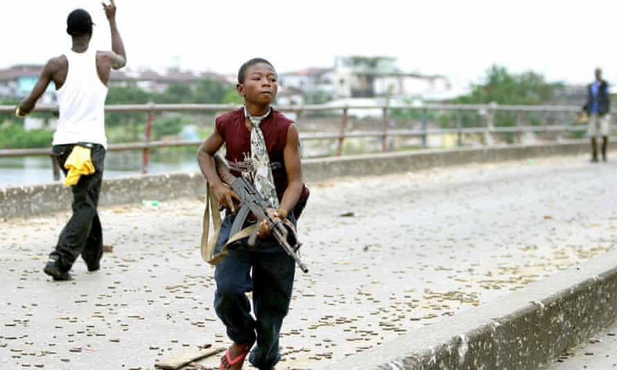 A Liberian child soldier in Monrovia in 2003