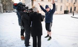 Boris Johnson speaks to the media in 2018.