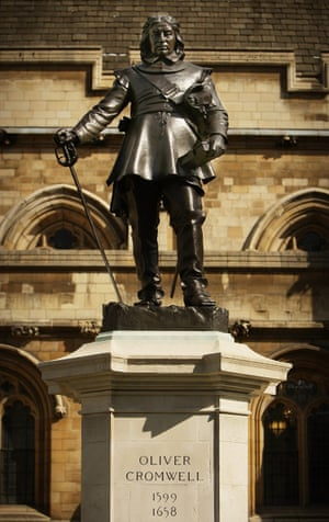 The statue of Oliver Cromwell outside parliament.