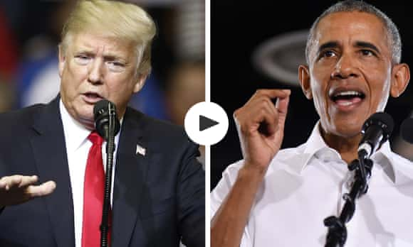 Obama attacks Trump at midterm rally without ever naming him – video
