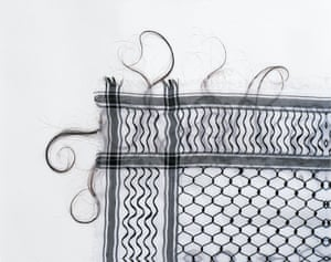 Keffieh, 1993-1999  by Mona Hatoum  Hair on cotton fabric