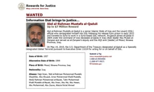 The State Department's Rewards For Justice wanted poster for Abd al-Rahman Mustafa al-Qaduli.