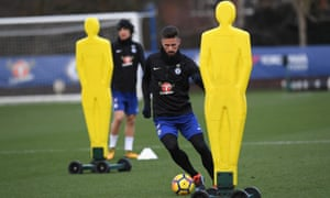 Olivier Giroud during a training session at Chelsea's training ground in Cobham