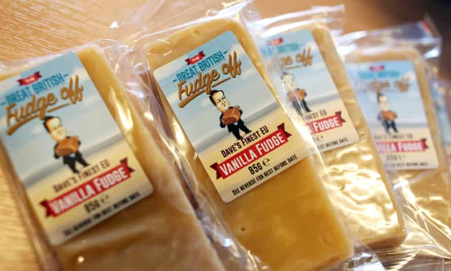 Promotional packs of vanilla fudge at the Leave.EU campaign headquarters