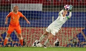 Netherlands' Sari van Veenendaal saves a shot.