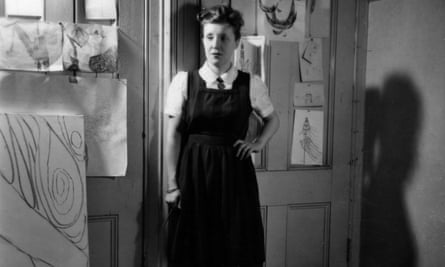 Louise Bourgeois in the studio of her apartment at 142 East 18th Street, New York, circa 1946.