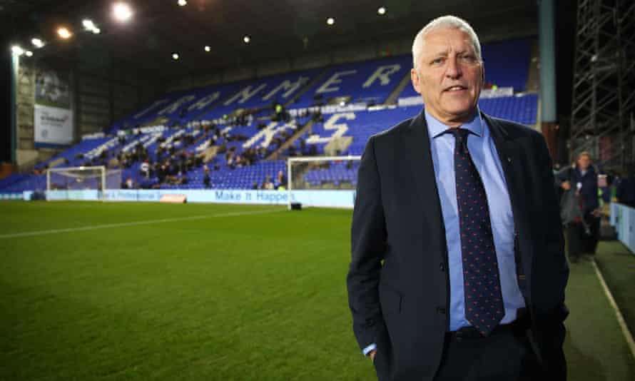 Mark Palios, the Tranmere chairman poses for photograph in front of one of the stands in 2019.
