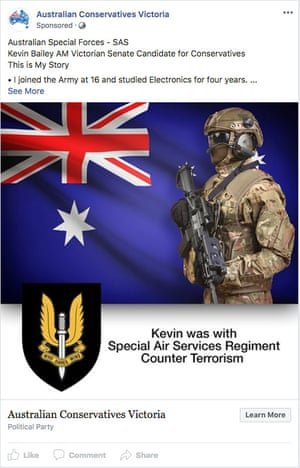 An advertisement paid for by the Australian Conservatives, picturing a man in uniform and the special air service regiment insignia