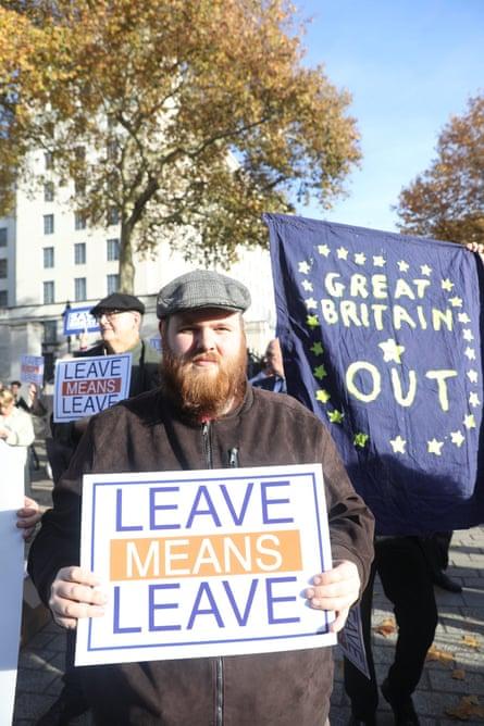 Leave protestors at Downing Street, November 2018.