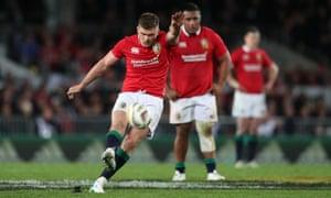 British and Irish Lions' Owen Farrell kicks a penalty