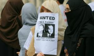 Uzbek women protest against the country's authoritarian president, Islam Karimov, outside 10 Downing Street in London.