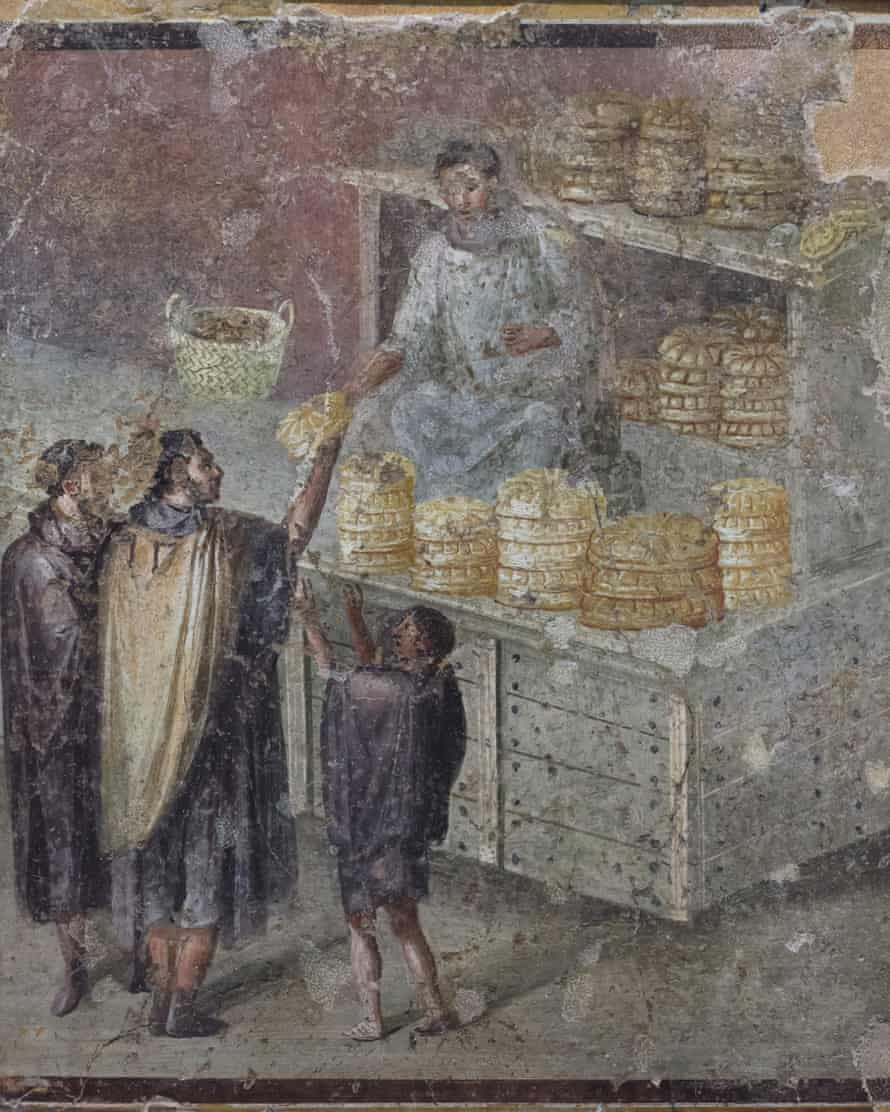 Customers buying bread, depicted in a fresco from Pompeii.