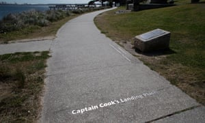 Writing on the pavement near the Captain Cook obelisk at Kurnell on the shore of Botany Bay where he first stepped ashore on 29 April 1770.