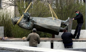 The statue of Red Army commander Ivan Konev being removed from its plinth in Prague