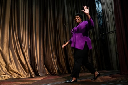 Stacey Abrams arrives to speak at the National Action Network's annual convention in New York City.