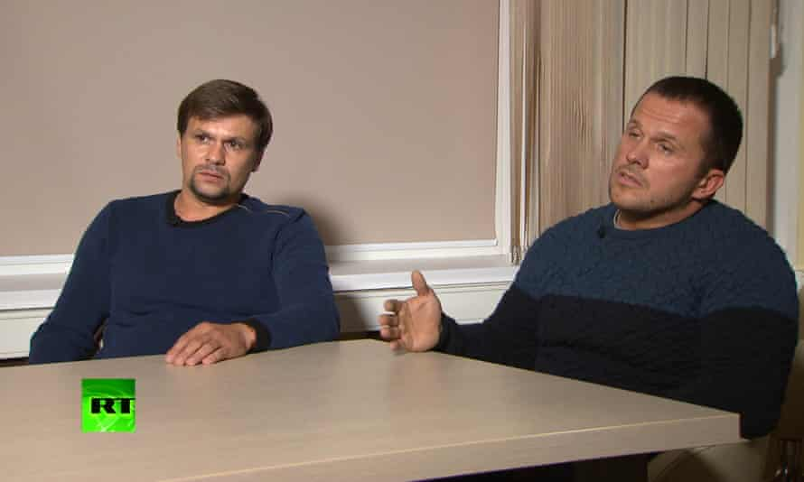 The two men identified as Ruslan Boshirov, left, and Alexander Petrov in an interview with the RT channel in Moscow
