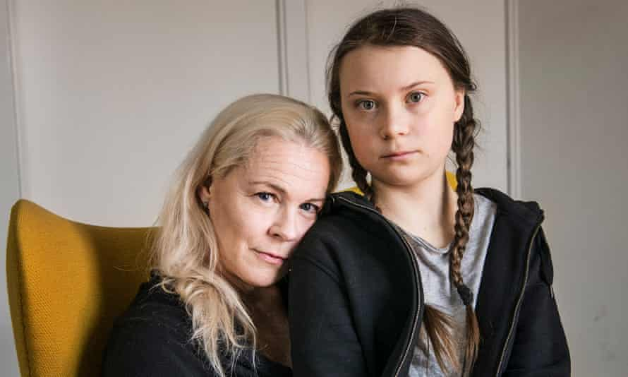 Greta Thunberg and her mother, opera singer Malena Ernman, at home in Stockholm.