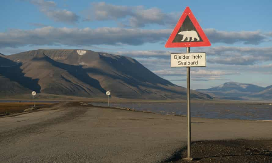 Mountains nearly devoid of snow stand behind a road and a polar bear warning sign during a summer heatwave on Svalbard archipelago in July near Longyearbyen, Norway.