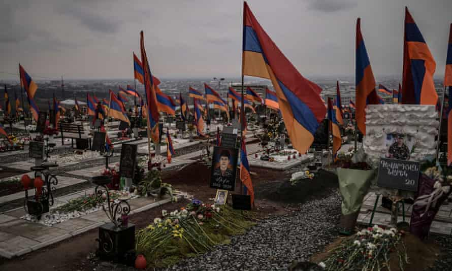 Graves at a military cemetery in Yerevan