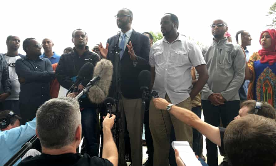 Somali-American leaders hold a press conference in St Cloud, Minnesota, to address the mass stabbing attack of Saturday night.