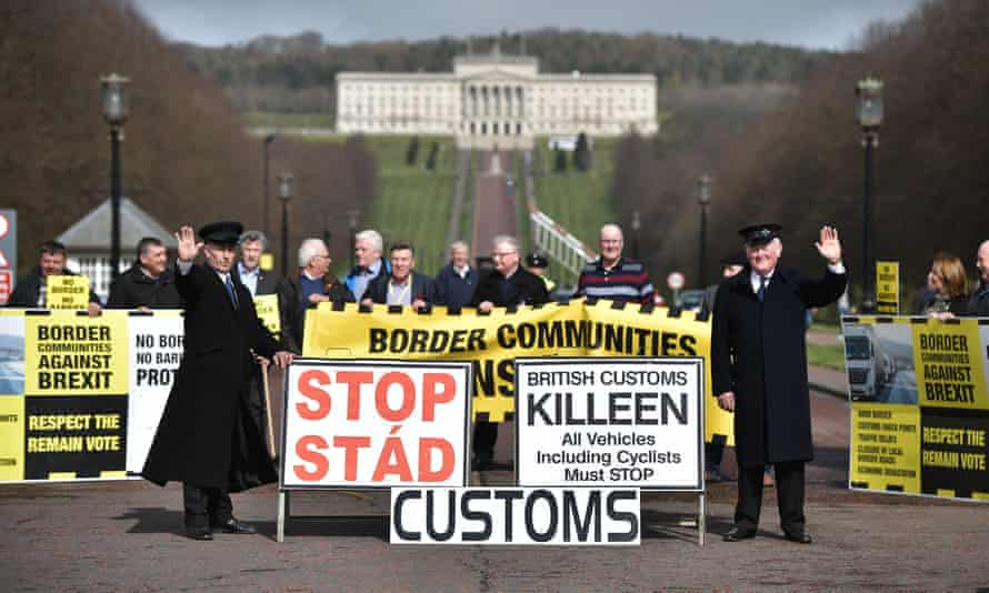 A protest outside Stormont against Brexit and its possible effect on the border between Northern Ireland and the Republic