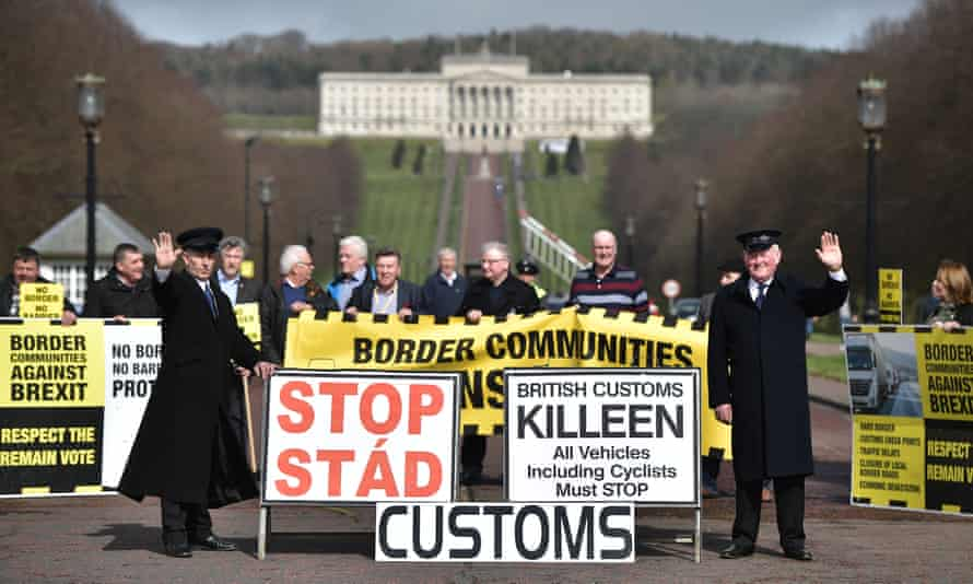 A fake customs border outside Stormont, part of a protest against Brexit in March 2017.