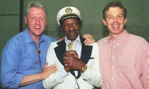 Chuck Berry poses with President Bill Clinton and Prime Minister Tony Blair in June 1997.