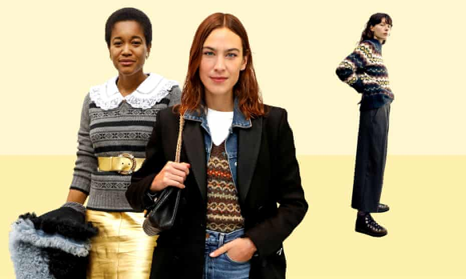 Winning patterns: (from left) Tamu McPherson wearing Miu Miu; Alexa Chung in her Cooking Apple X Cutter Brooks tank top; and a Fair Isle sweater from Toast.