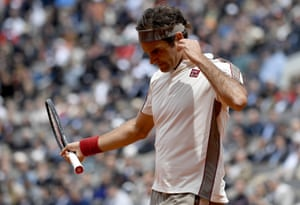Its not a good day at the office for Roger Federer.