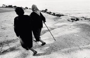 Efstratia and Irini take a walk along the Lesbos beach
