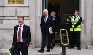Labour's Brexit spokesman Keir Starmer (left) and Labour's shadow chancellor John McDonnell leave the Cabinet office