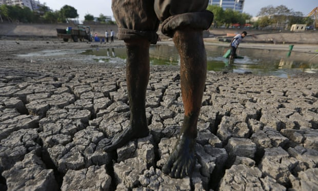 A man stands on a parched lake bed as he removes dead fish and rescues the surviving ones in Ahmadabad, India.
