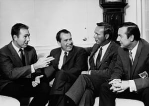 February 1969. Palmer meets President Richard Nixon at the White House in Washington as part of a visit by American sportsmen.