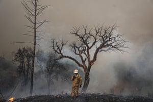 A firefighter surveys the scene in Monchique