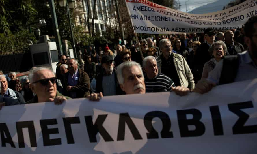 Protest by Greek island residents