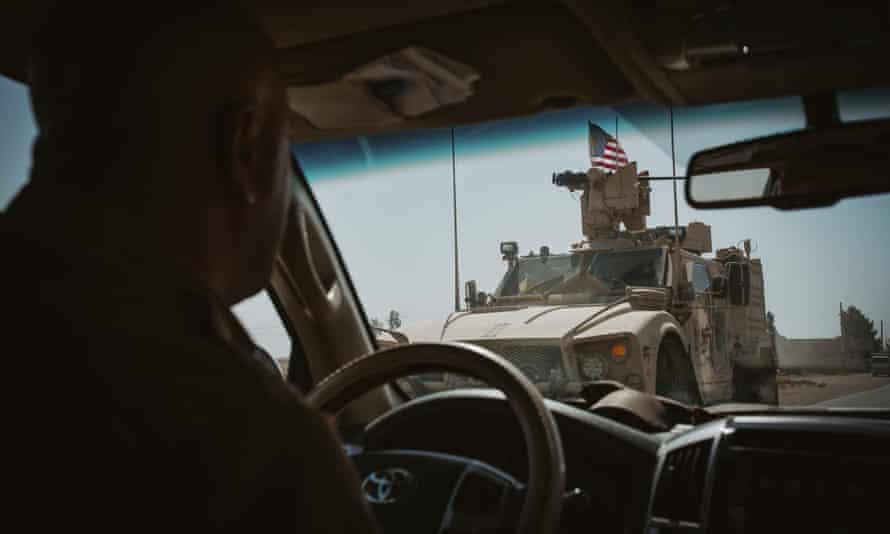 An American military vehicle on patrol in Deir ez-Zor province.