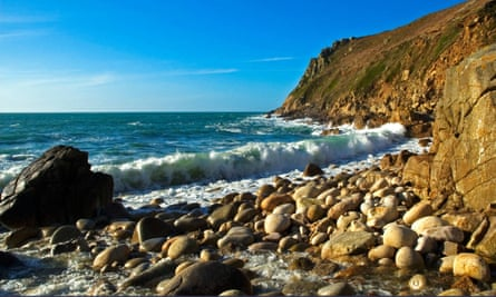 Stony beach and cliffs porth nanven
