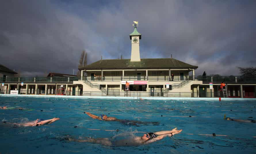 Swimmers at Peterborough Lido take advantage of the easing of lockdown restrictions
