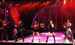 The Spice Girls perform during a rehearsal in Istanbul, a few hours before their first-ever live concert, October 1997.