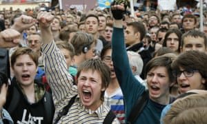 On Russia day, 12 June, thousands of people protested in central Moscow against Vladimir Putin.