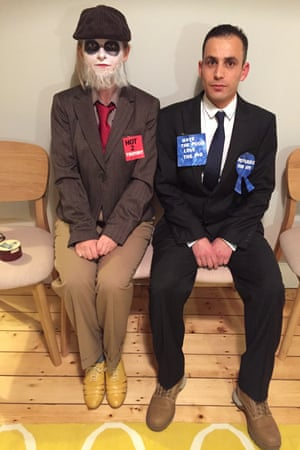 Helen Pidd and her lodger Yasser Al Jassem in Jeremy Corbyn and David Cameron Halloween outfits.