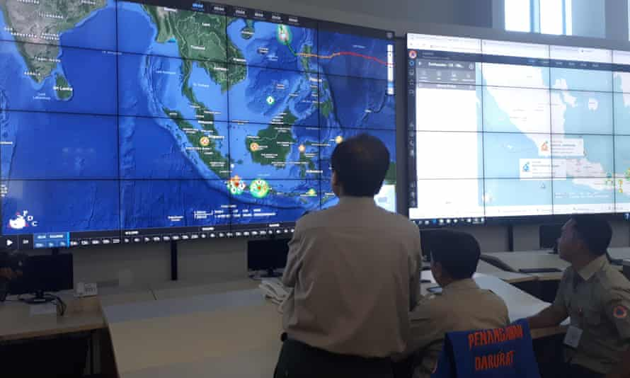 Sutopo looks on at the national disaster mitigation agency