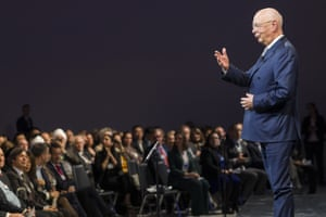 Klaus Schwab, founder and executive chairman of the World Economic Forum, pictured during his welcome address