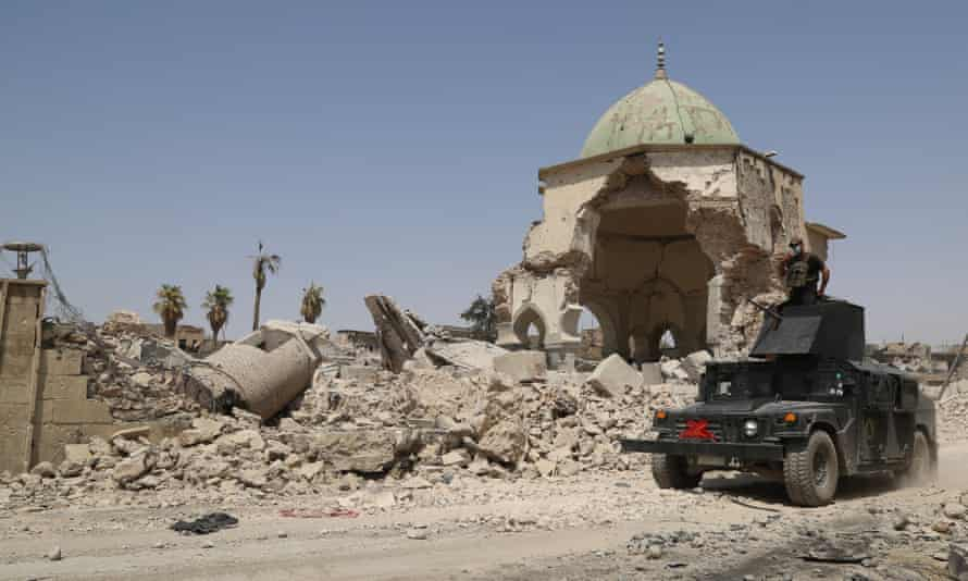 Great Mosque of al-Nuri and al-Hadba minaret in Mosul after it was retaken from Islamic State in Mosul in July 2017.