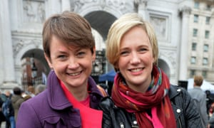 Yvette Cooper and Stella Creasy outside Marble Arch.