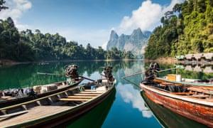 boats in Khao Sok national park