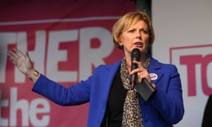 Anna Soubry MP speaks at the People's Vote rally in Parliament Square on 19 October 2019.