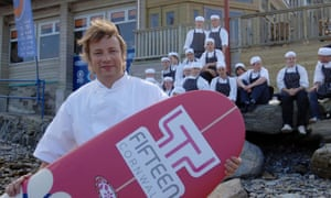 Jamie Oliver on the beach outside Fifteen Cornwall