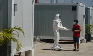 A robot nurse is deployed inside a mega-quarantine facility in Taguig city, in the Philippines