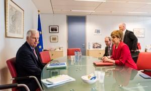Michel Barnier, the EU's chief Brexit negotiator, meeting Nicola Sturgeon in Brussels today.